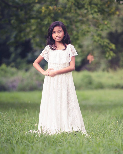 boho off shoulder vintage lace flower girl dress - Belle & Kai