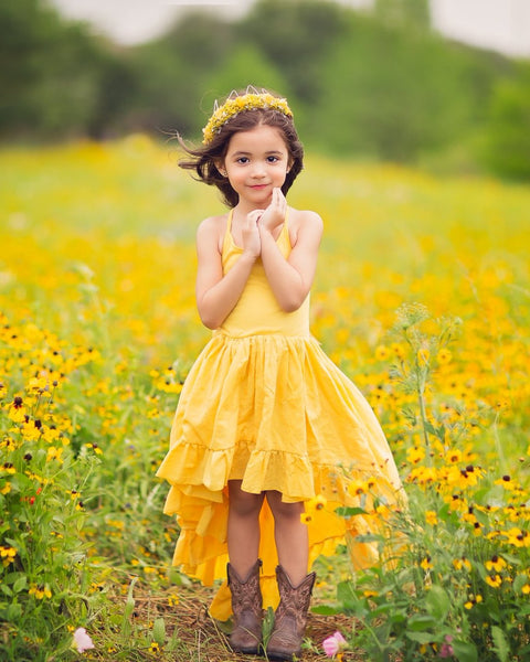 yellow boho high low flower girl linen dress - Belle & Kai