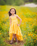bohemian linen yellow flower girl high low maxi dress - Belle & Kai