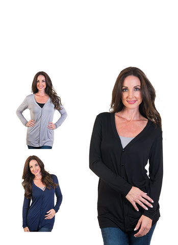 Long Button Front Cardigan 3-Pack