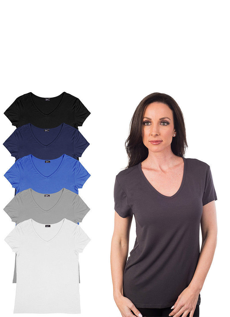 Basic Rayon V Neck T-Shirt 6-Pack