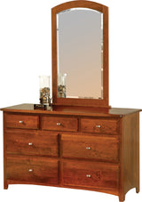 Image of customizable, solid wood Classic Shaker Dresser with Mirror from Harvest Home Interiors Amish Furniture