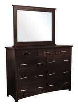 Image of customizable, solid wood Tersigne Mission Style High Dresser with Mirror from Harvest Home Interiors Amish Furniture