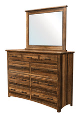 Image of solid wood customizable Barn Floor High Dresser with Mirror from Harvest Home Interiors Amish Furniture