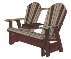 5' Handcrafted Amish Polywood Adirondack Settee Glider from Harvest Home Interiors