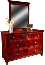 Image of customizable, solid wood Riverside Dresser with Mirror from Harvest Home Interiors Amish Furniture