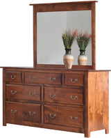 Image of customizable, solid wood Queen Esther Dresser and Mirror from Harvest Home Interiors Amish Furniture