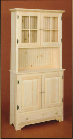 Unfinished Pine Countryside Hutch - Harvest Home Interiors