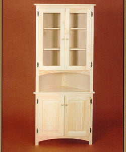 Unfinished Solid Pine CORNER HUTCH - Harvest Home Interiors