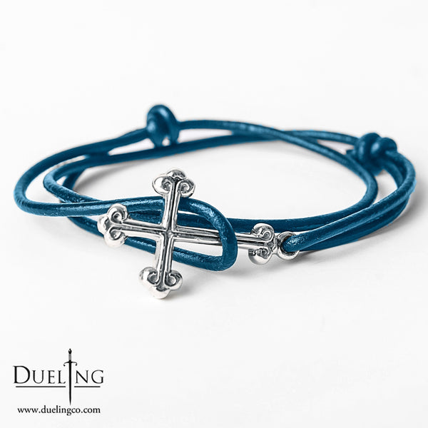 Sterling Silver Cross Leather Bracelet (5 COLORS AVAILABLE)
