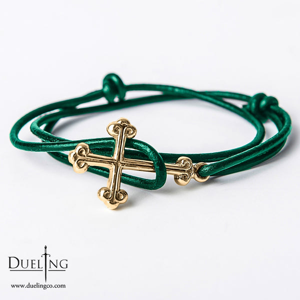 Gold Cross Leather Bracelet (5 COLORS AVAILABLE)