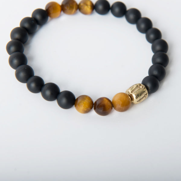 Matte Black Onyx Tiger Eye Tri Beaded Bracelet