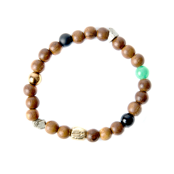 Wood Bead Amazonite Pyrite Black Onyx Bracelet