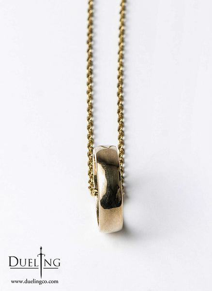 Gold Band Ring Necklace