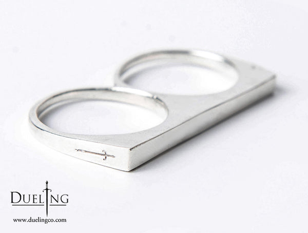 White Brass Slim Double Finger Ring