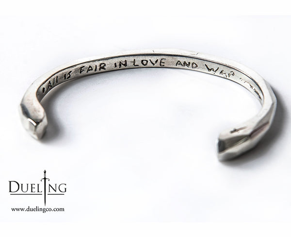 White Brass Engraved Bangle: All Is Fair In Love And War