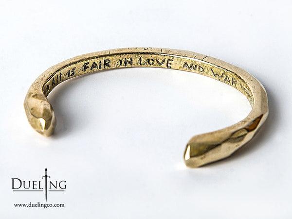 Gold Engraved Bracelet: All Is Fair In Love And War Bangle
