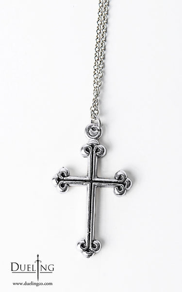 Sterling Silver Medieval Cross Pendant Necklace
