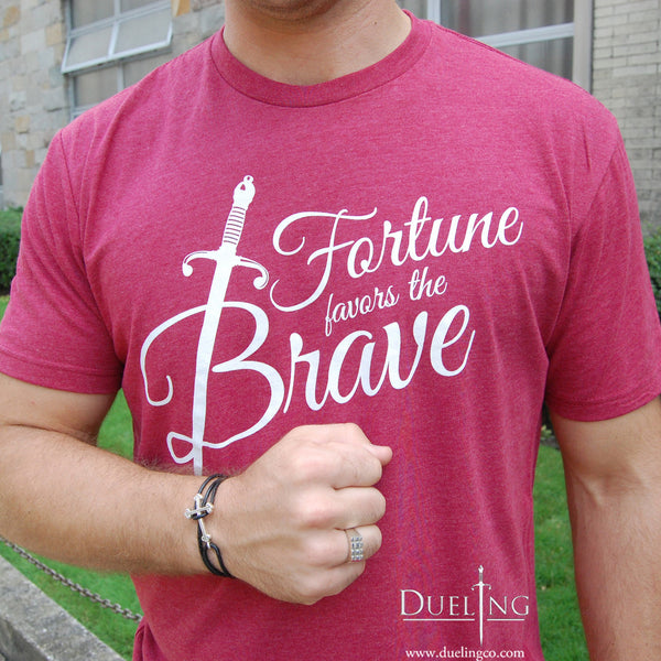 Fortune Favors The Brave Vintage Red T Shirt