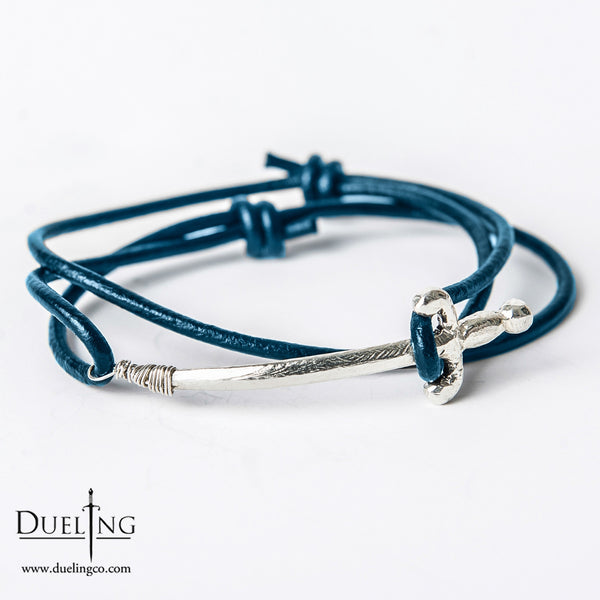 Sterling Silver Sword Leather Bracelet (5 COLORS AVAILABLE)