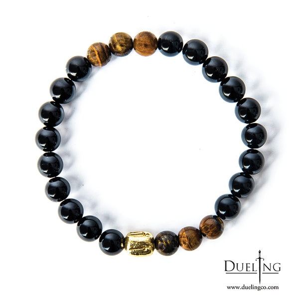 Black Onyx Tri Tiger Eye Beaded Bracelet