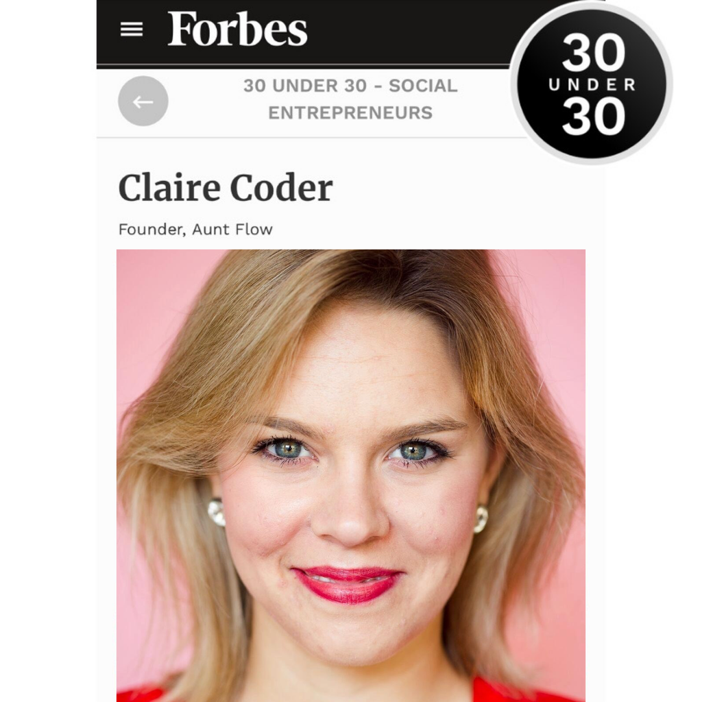 Forbes 30U30 - Claire Coder, Founder & CEO Aunt Flow
