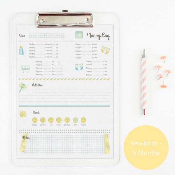 Nanny Log - Newborn - 5 Months | 5 Months and Older | 1 Year and Older - By Clementine Creative
