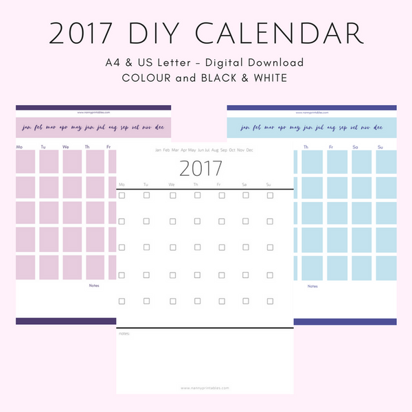 2017 {DIY} Calendar - Black & White or Colour - A4 and US Letter - Instant PDF Download