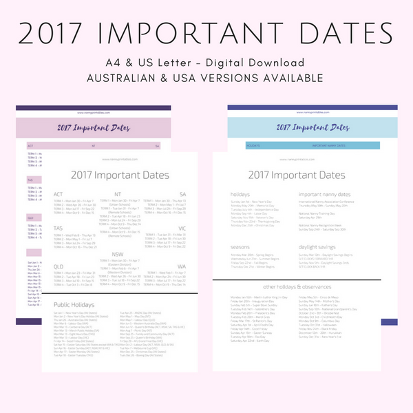 FREE 2017 Important Dates - Black & White or Colour - A4 and US Letter - Instant PDF Download