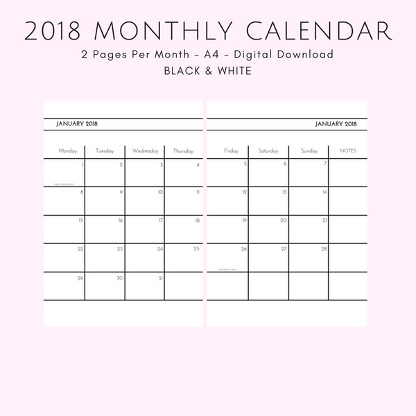 Large 2018 Monthly Calendar - 2 Pages per Month - Black & White - A4 - Instant PDF Download