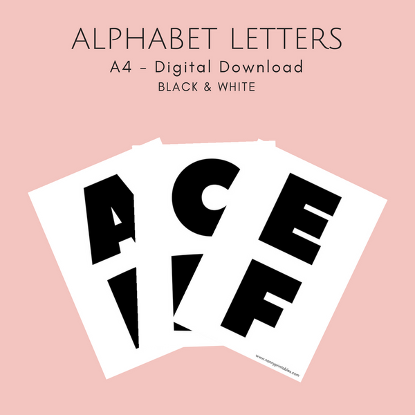 Black & White Alphabet Letters - A4 - Instant PDF Download