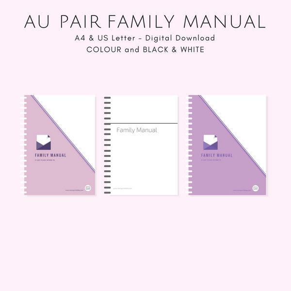 {AU PAIR} Family Manual - Black & White or Colour - A4 and US Letter - Instant PDF Download