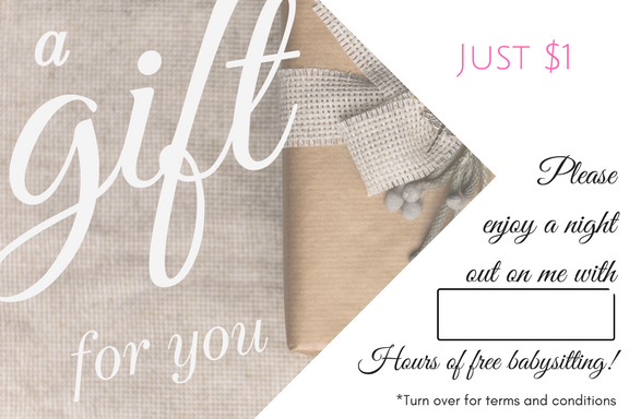 Special Occasion Babysitting Gift Voucher - Gift