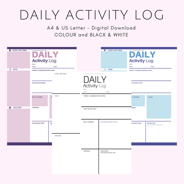 Daily Activity Log - Black & White or Colour - A4 and US Letter - Instant PDF Download