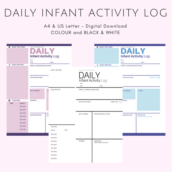 Daily {INFANT} Activity Log - Black & White or Colour - A4 and US Letter - Instant PDF Download
