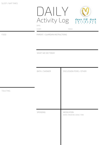DAWN TILL DUSK Daily Activity Log - Black & White - A4 - Instant PDF Download