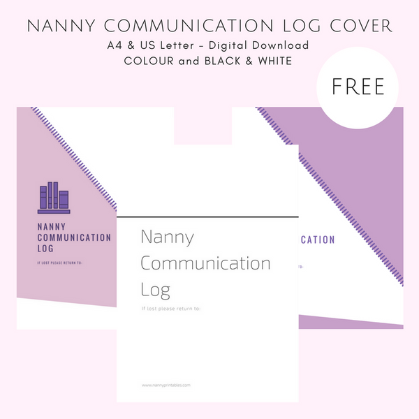 {NANNY} Communication Log {COVER PAGE} - Black & White or Colour - A4 and US Letter - Instant PDF Download