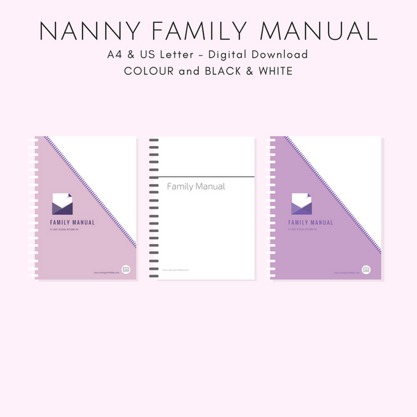 {NANNY} Family Manual - Black & White or Colour - A4 and US Letter - Instant PDF Download