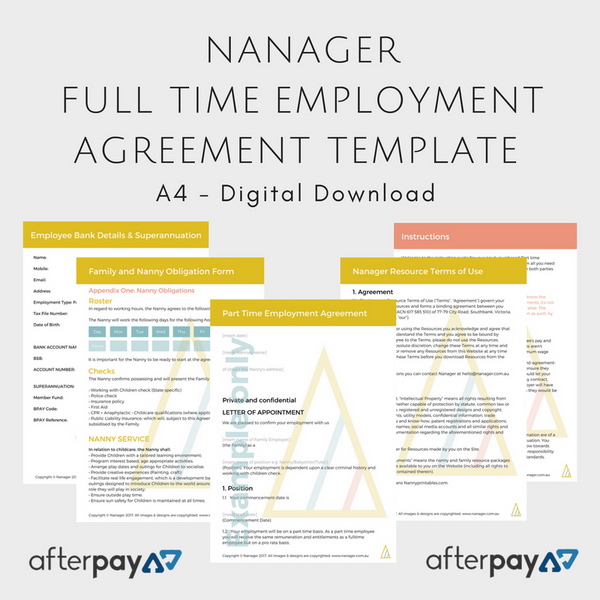 NANAGER *Editable* Full Time Employee Agreement Bundle
