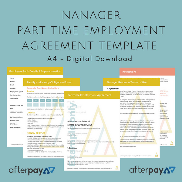 NANAGER *Editable* Part Time Employee Agreement Bundle