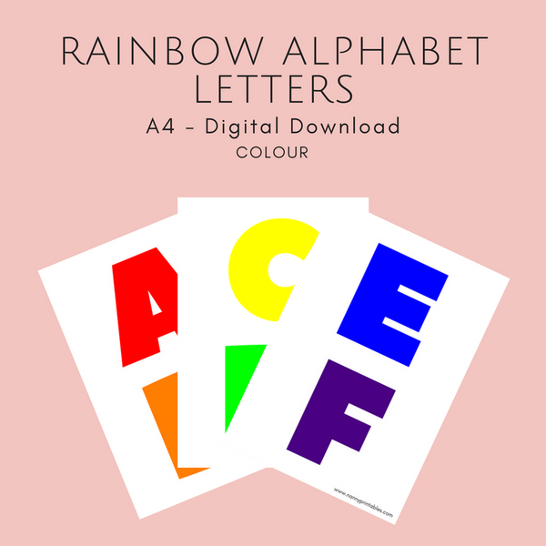 Rainbow Alphabet Letters - A4 - Instant PDF Download