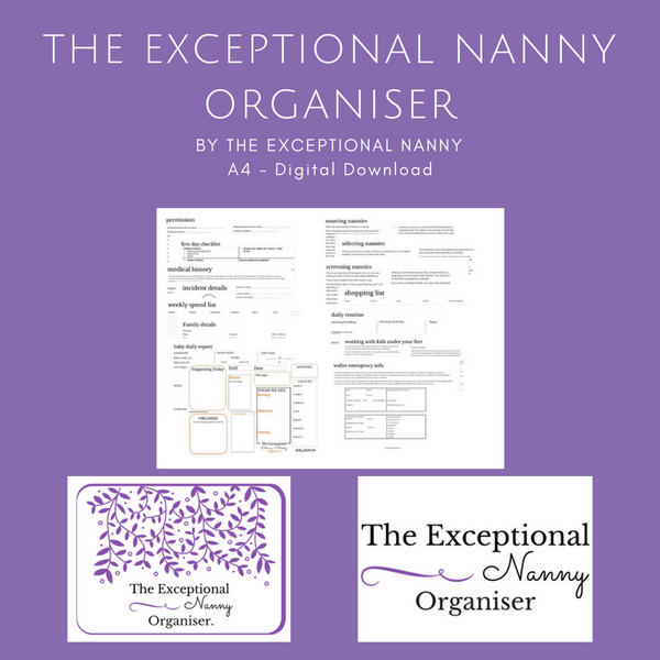 The Exceptional Nanny Organiser / Planner - Colour - A4 - Instant PDF Download - by The Exceptional Nanny