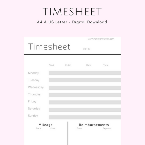 Timesheet - A4 and US Letter - Instant PDF Download