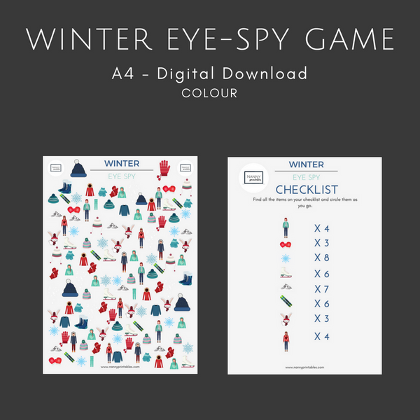 FREE Winter Eye-Spy Game - A4 - Instant PDF Download