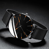 Ultra-Thin Business Quartz with Stainless Steel Band WristWatch for Men