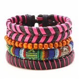 New Punk Vintage Handmade Men Bracelets 4pcs/set