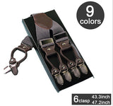 Fashion leather alloy 6 clips male vintage casual suspenders