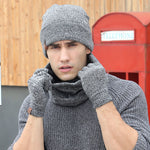 Plain Wool Knitted Winter Set for Men, Beanies Gloves and Muffler