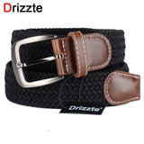 Drizzte Mens Belt Long Black Braid Elastic Stretched
