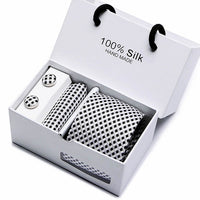 Men Luxury Gift Box with Tie, Pocket Square and Cufflink